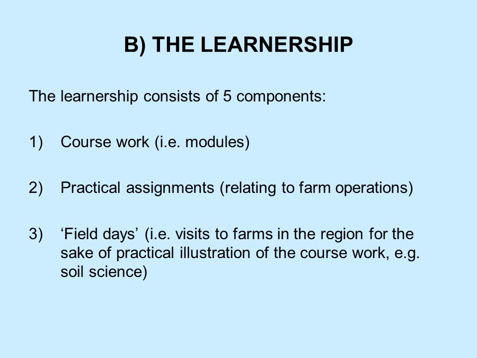 B) THE LEARNERSHIP The learnership consists of 5 components: 1)Course work (i.e.