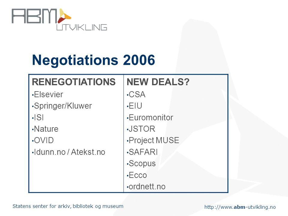 http://www.abm-utvikling.no Statens senter for arkiv, bibliotek og museum Negotiations 2006 RENEGOTIATIONS Elsevier Springer/Kluwer ISI Nature OVID Idunn.no / Atekst.no NEW DEALS.