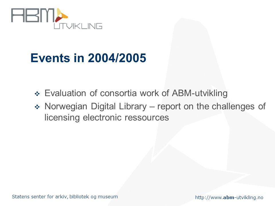 http://www.abm-utvikling.no Statens senter for arkiv, bibliotek og museum Events in 2004/2005  Evaluation of consortia work of ABM-utvikling  Norweg
