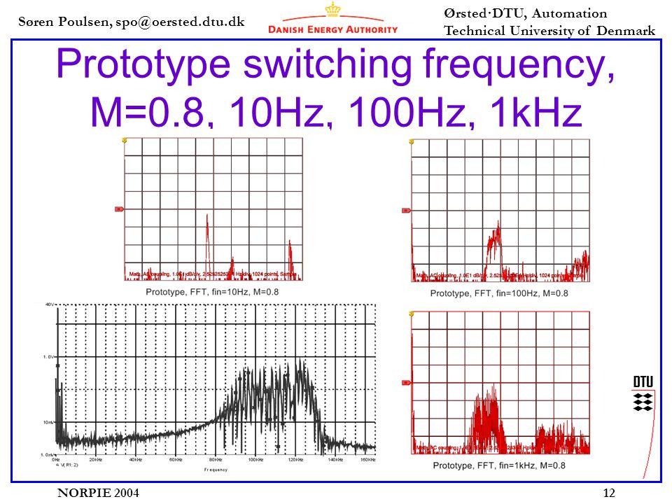 Søren Poulsen, spo@oersted.dtu.dk Ørsted·DTU, Automation Technical University of Denmark NORPIE 200412 Prototype switching frequency, M=0.8, 10Hz, 100Hz, 1kHz