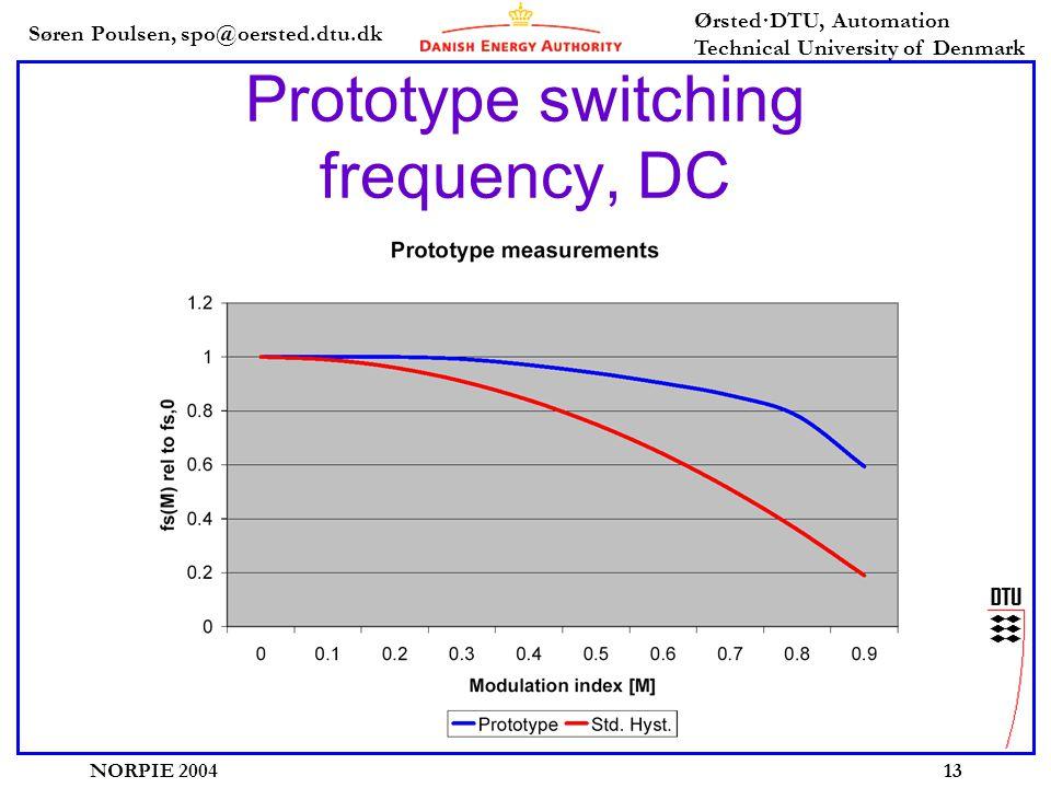 Søren Poulsen, spo@oersted.dtu.dk Ørsted·DTU, Automation Technical University of Denmark NORPIE 200413 Prototype switching frequency, DC