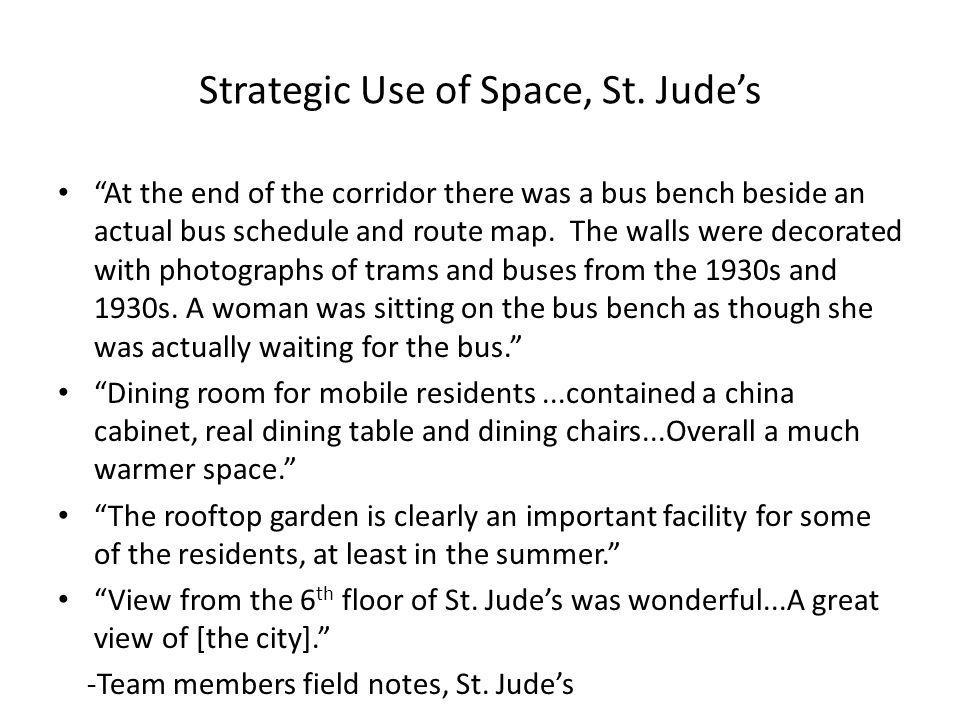 """Strategic Use of Space, St. Jude's """"At the end of the corridor there was a bus bench beside an actual bus schedule and route map. The walls were decor"""