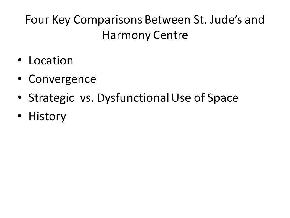 Four Key Comparisons Between St. Jude's and Harmony Centre Location Convergence Strategic vs. Dysfunctional Use of Space History