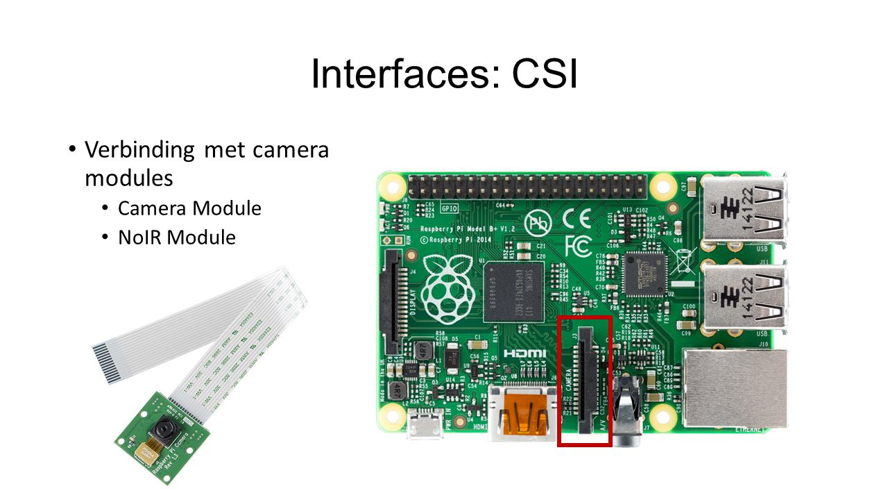 Interfaces: CSI Verbinding met camera modules Camera Module NoIR Module