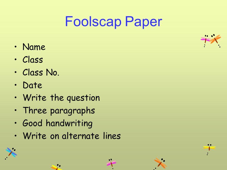 Foolscap Paper Name Class Class No.