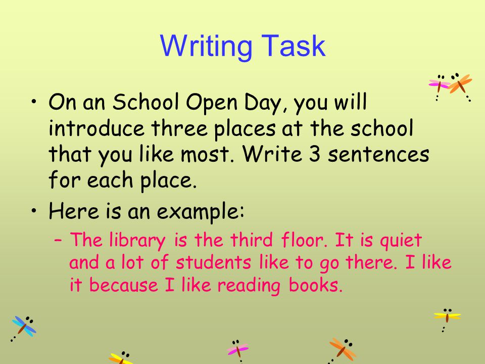 Writing Task On an School Open Day, you will introduce three places at the school that you like most.