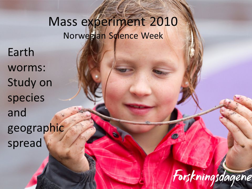 Mass experiment 2010 Norwegian Science Week Earth worms: Study on species and geographic spread
