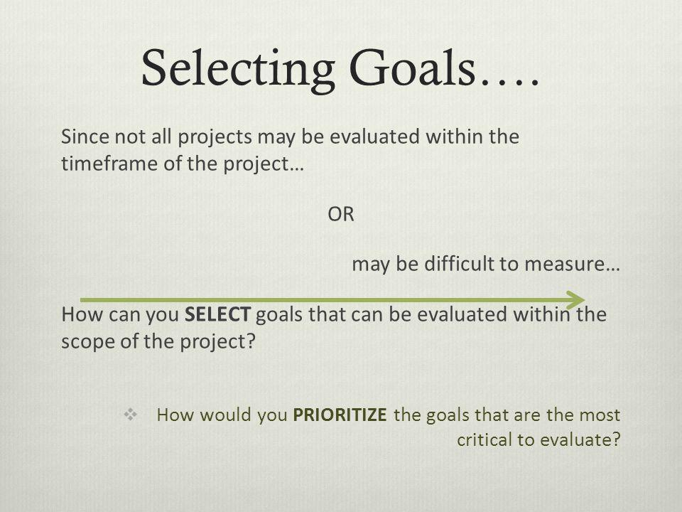Selecting Goals….