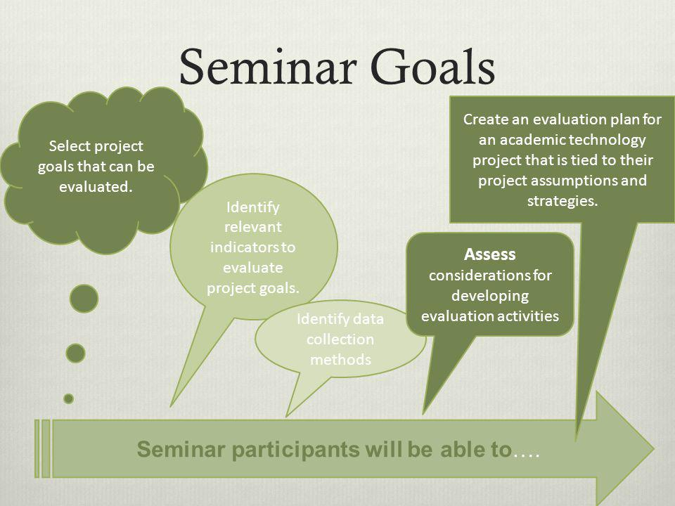 Evaluation Process Identify Project Goals Focus of the Evaluation.