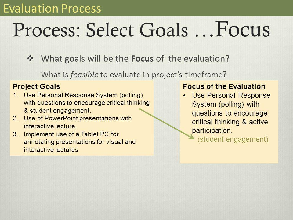 Process: Select Goals …Focus  What goals will be the Focus of the evaluation.
