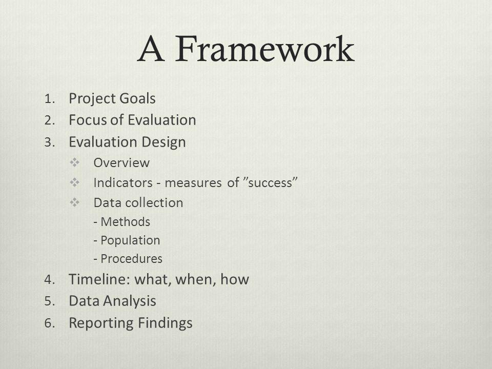 A Framework 1. Project Goals 2. Focus of Evaluation 3.