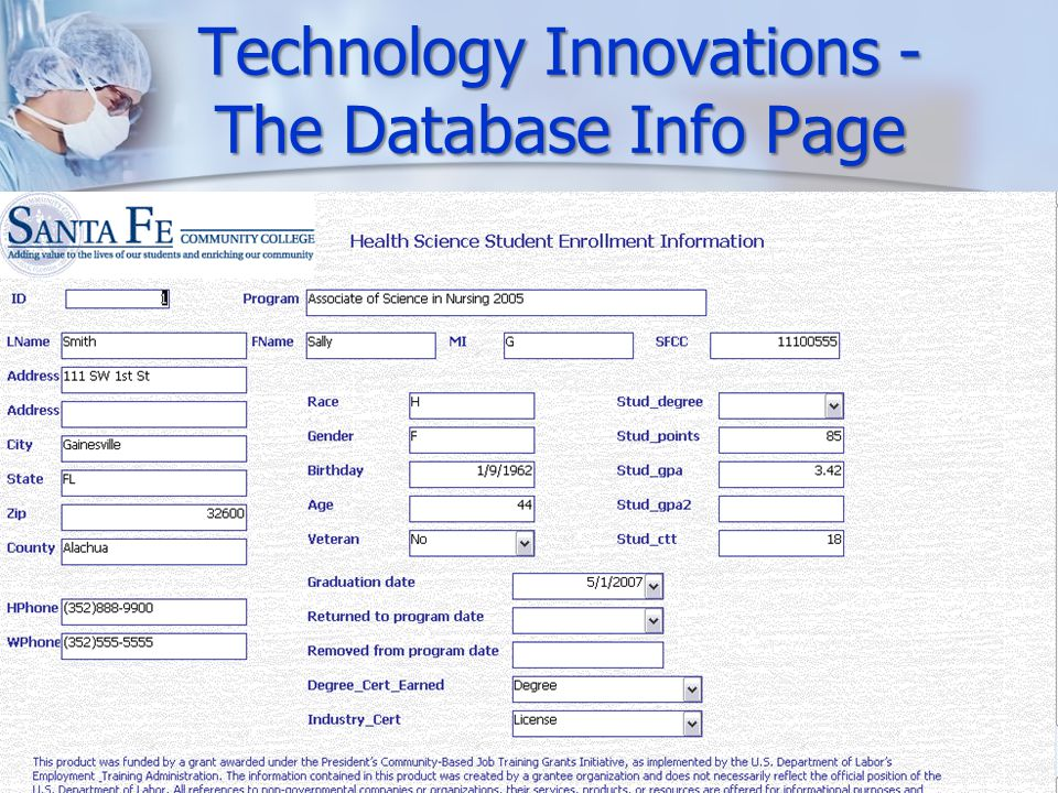 Technology Innovations - The Database Info Page