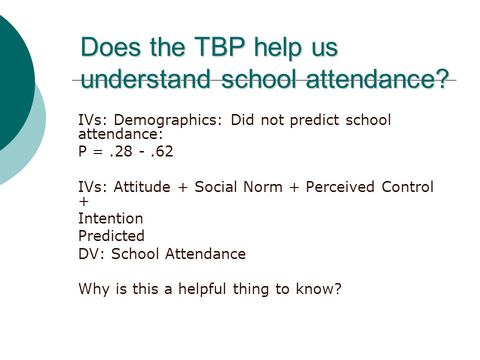 Does the TBP help us understand school attendance.