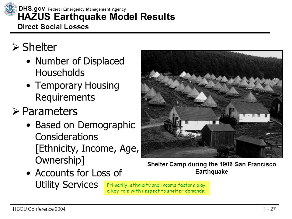 DHS.gov Federal Emergency Management Agency 1 - 27HBCU Conference 2004  Shelter Number of Displaced Households Temporary Housing Requirements  Parameters Based on Demographic Considerations [Ethnicity, Income, Age, Ownership] Accounts for Loss of Utility Services Shelter Camp during the 1906 San Francisco Earthquake Primarily, ethnicity and income factors play a key role with respect to shelter demands.