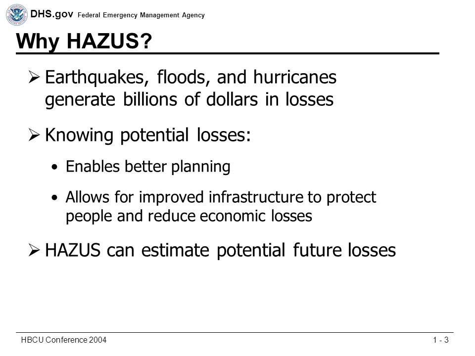 DHS.gov Federal Emergency Management Agency 1 - 3HBCU Conference 2004 Why HAZUS.