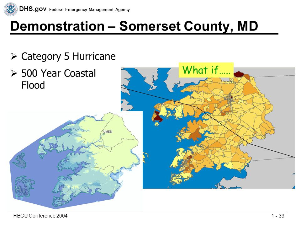 DHS.gov Federal Emergency Management Agency 1 - 33HBCU Conference 2004 Demonstration – Somerset County, MD  Category 5 Hurricane  500 Year Coastal Flood What if…..
