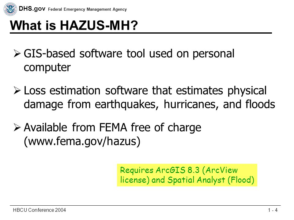 DHS.gov Federal Emergency Management Agency 1 - 4HBCU Conference 2004 What is HAZUS-MH.