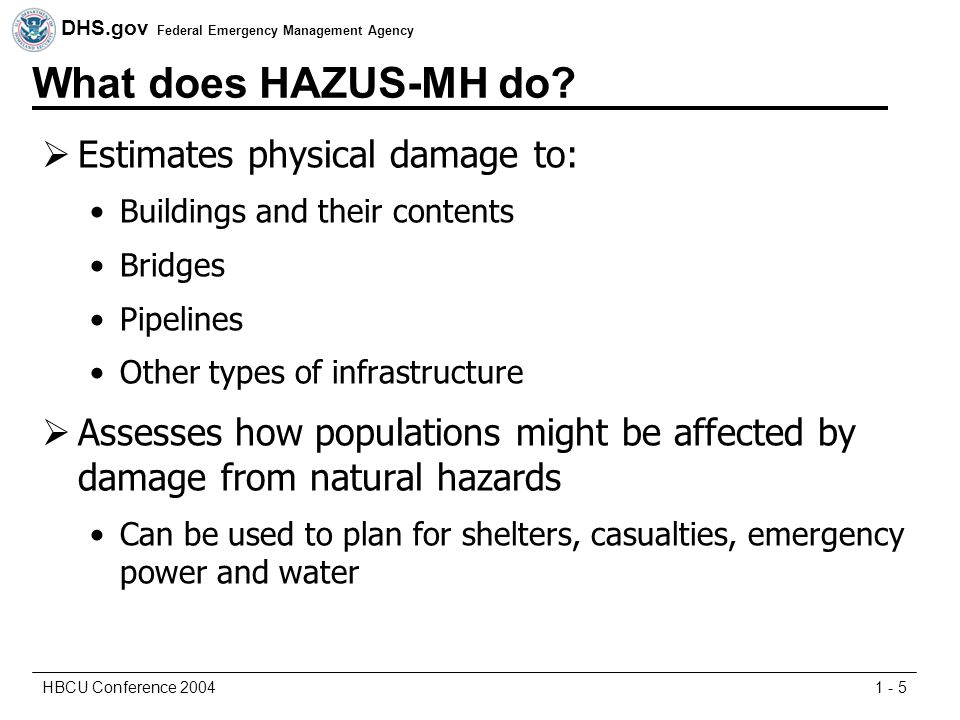 DHS.gov Federal Emergency Management Agency 1 - 5HBCU Conference 2004 What does HAZUS-MH do.
