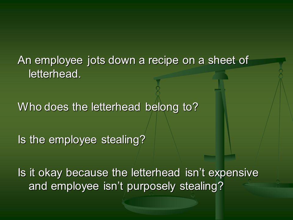An employee jots down a recipe on a sheet of letterhead.