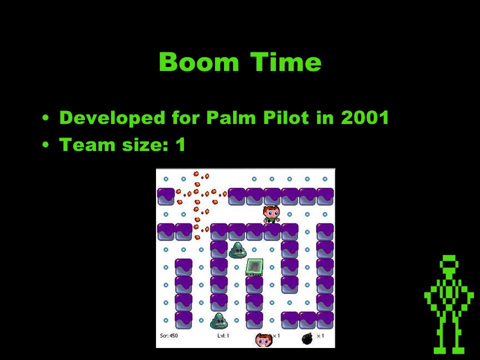 Boom Time Developed for Palm Pilot in 2001 Team size: 1
