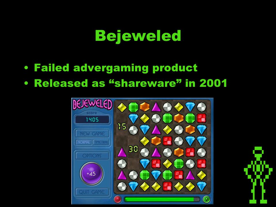 Bejeweled Failed advergaming product Released as shareware in 2001