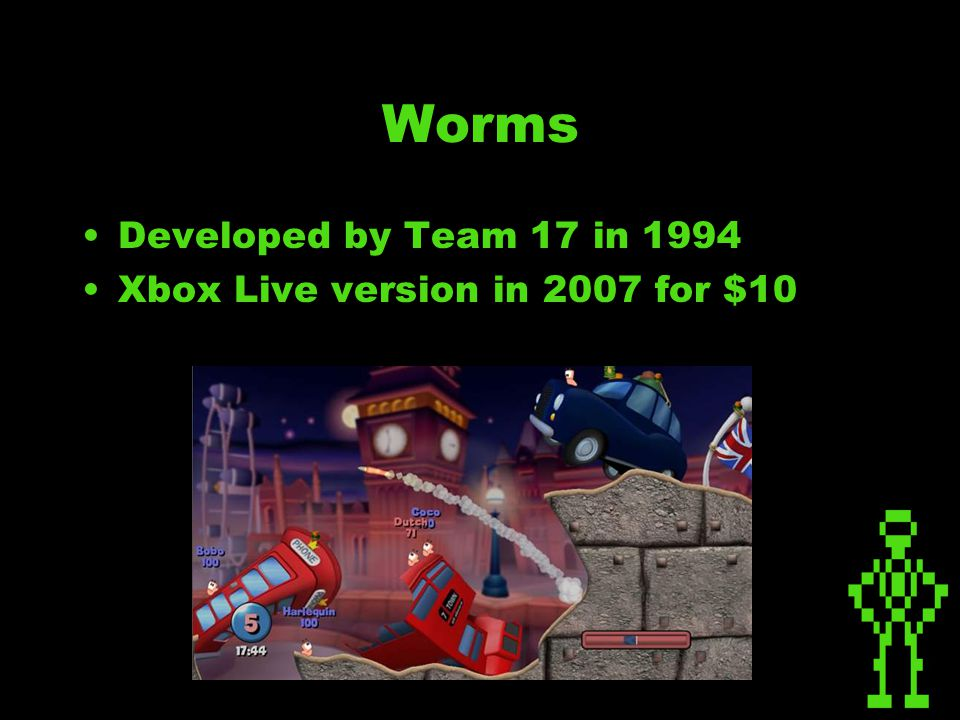 Worms Developed by Team 17 in 1994 Xbox Live version in 2007 for $10