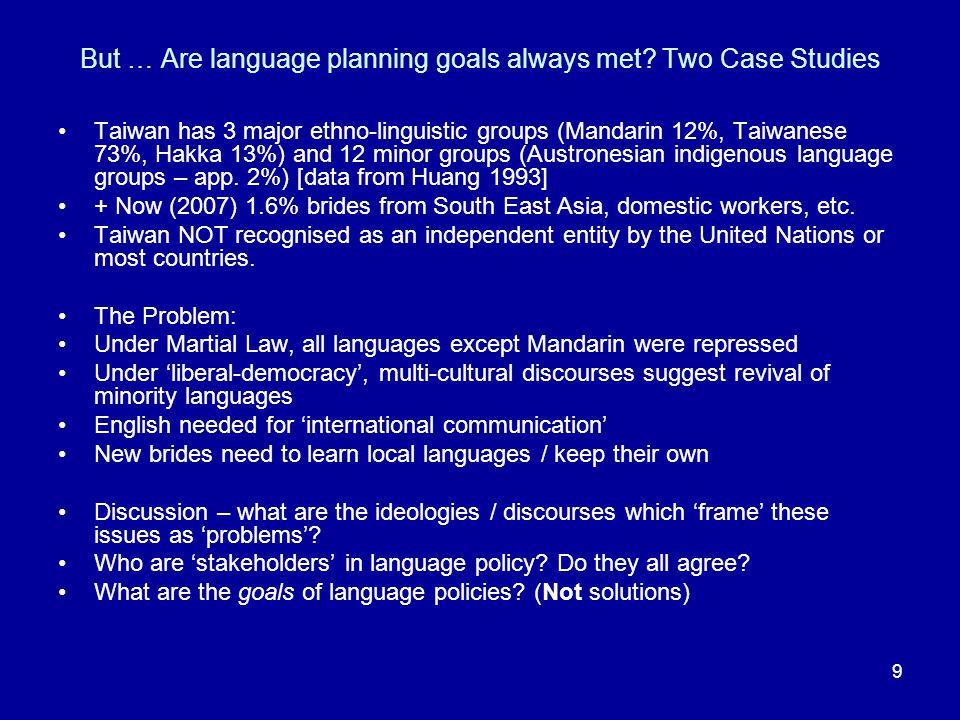 9 But … Are language planning goals always met.