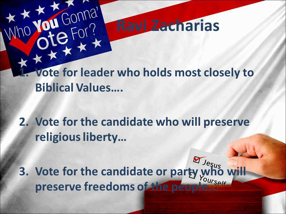 Ravi Zacharias 1.Vote for leader who holds most closely to Biblical Values…. 2.Vote for the candidate who will preserve religious liberty… 3.Vote for