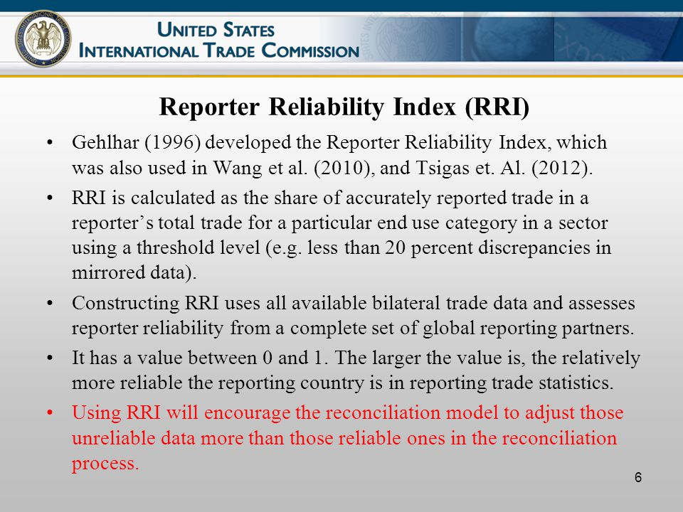 6 Reporter Reliability Index (RRI) Gehlhar (1996) developed the Reporter Reliability Index, which was also used in Wang et al.