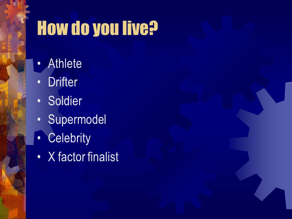How do you live Athlete Drifter Soldier Supermodel Celebrity X factor finalist