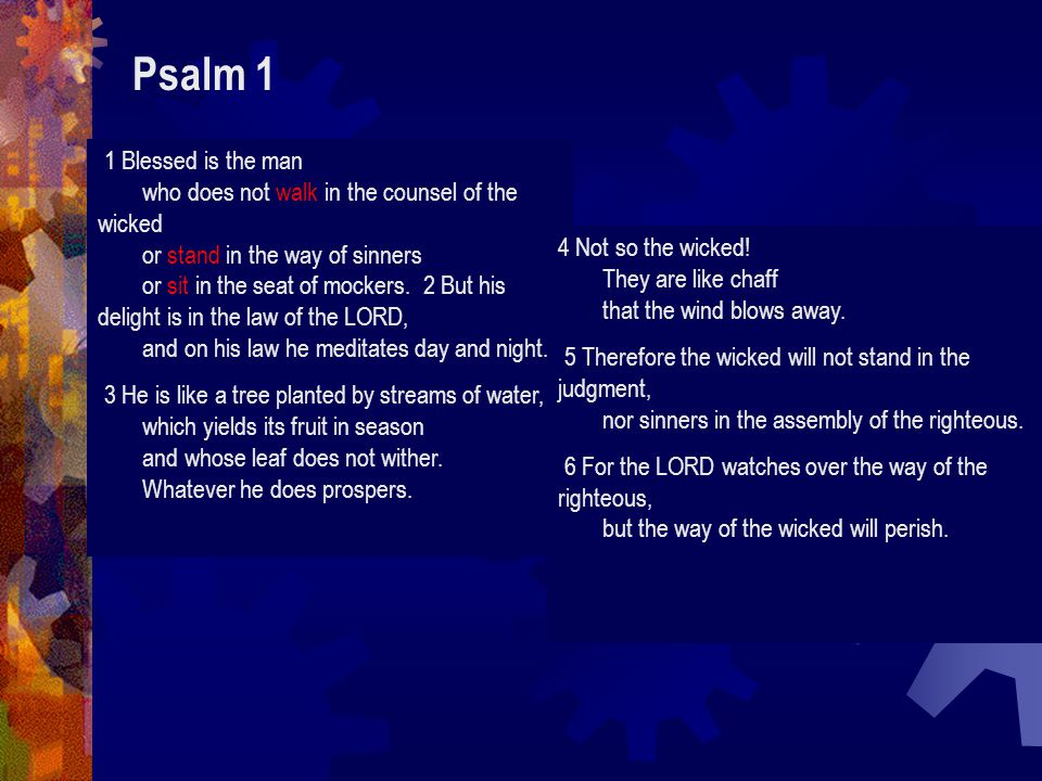 Psalm 1 1 Blessed is the man who does not walk in the counsel of the wicked or stand in the way of sinners or sit in the seat of mockers.