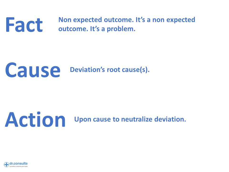 Fact Cause Action Non expected outcome. It's a non expected outcome.