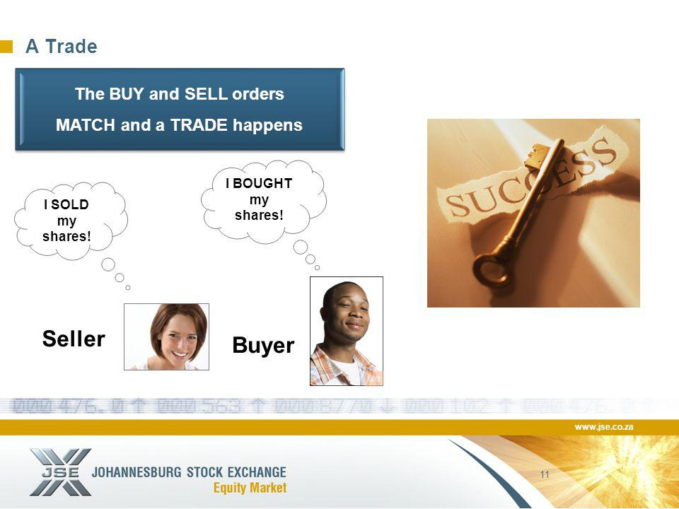 www.jse.co.za 11 A Trade Seller Buyer I SOLD my shares! I BOUGHT my shares! The BUY and SELL orders MATCH and a TRADE happens