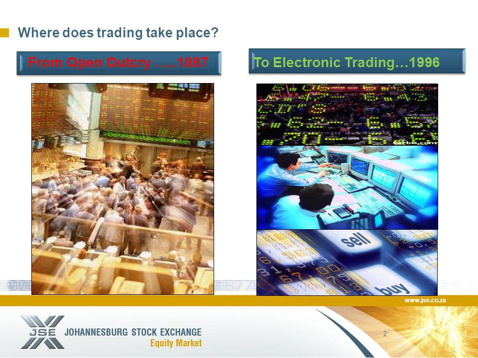 www.jse.co.za 2 Where does trading take place From Open Outcry …..1887 To Electronic Trading…1996