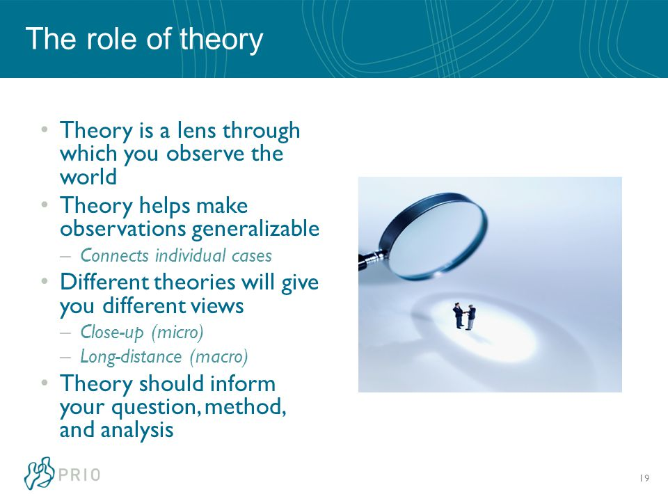The role of theory Theory is a lens through which you observe the world Theory helps make observations generalizable – Connects individual cases Different theories will give you different views – Close-up (micro) – Long-distance (macro) Theory should inform your question, method, and analysis 19