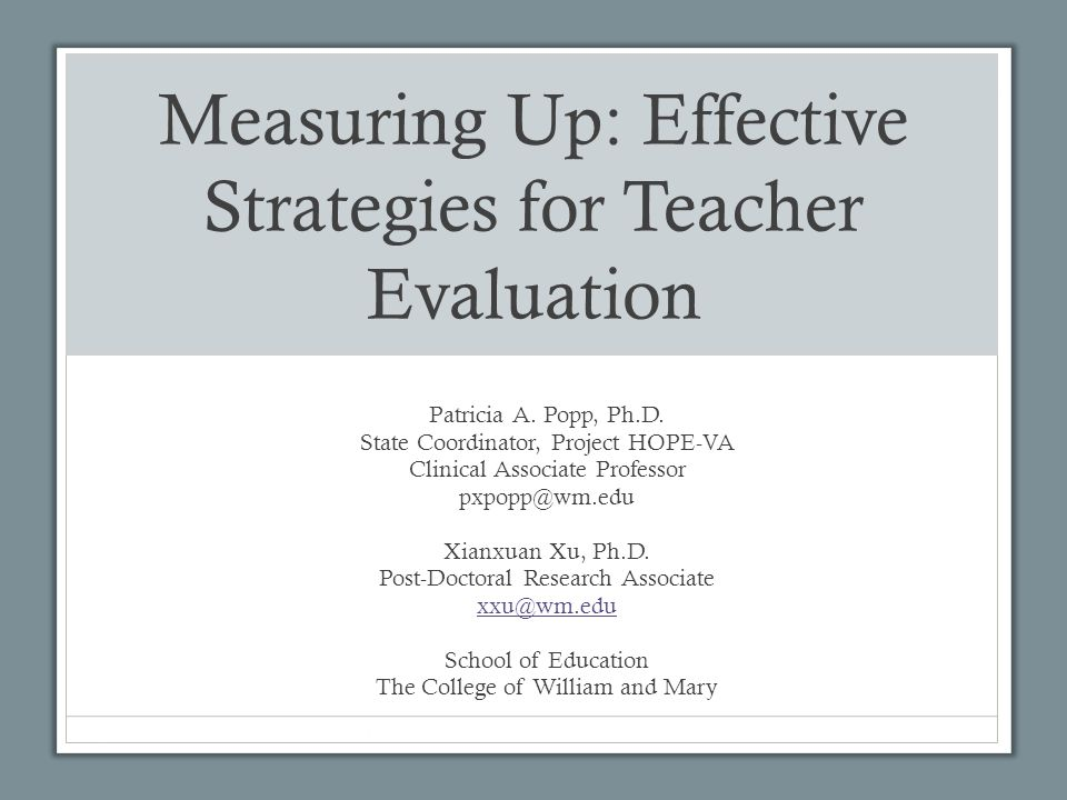 Primary Purposes of the Evaluation System Improve student achievement through the quality of instruction by assuring accountability for classroom performance Contribute to the successful achievement of the goals and objectives defined in a school division's educational plans Provide a basis for instructional improvement through productive teacher appraisal and professional growth Share responsibility for evaluation between the teacher and the evaluation team in a collaborative process that promotes self-growth, instructional effectiveness, and improvement of overall job performance