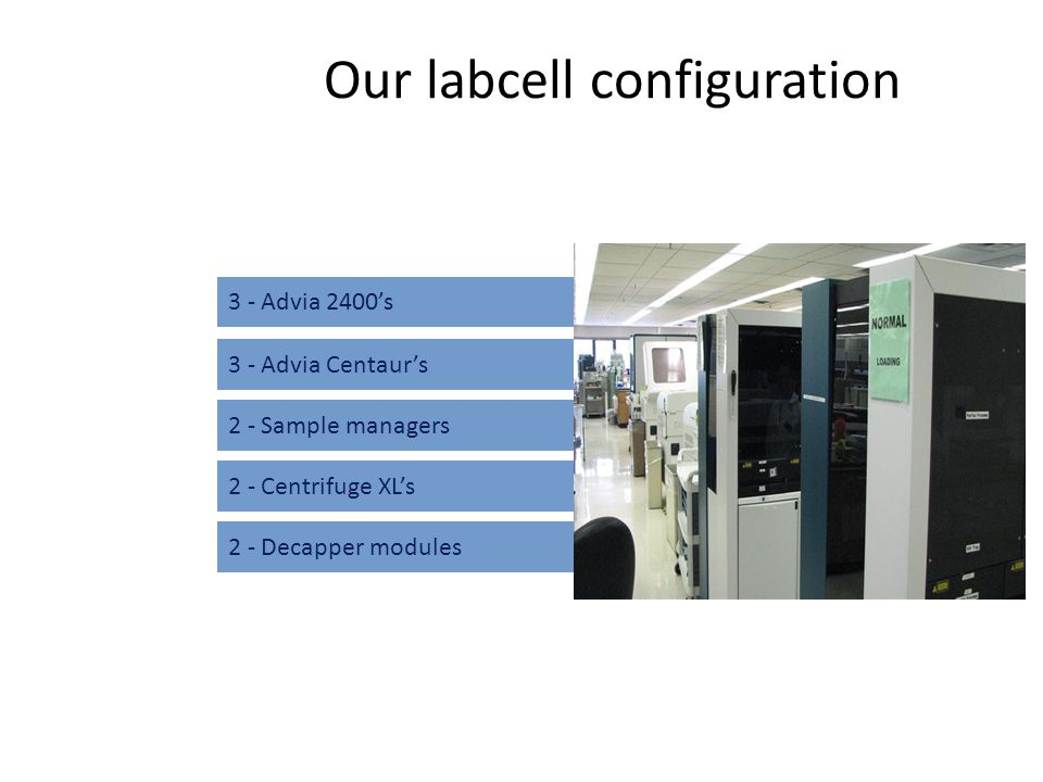 Our labcell configuration 3 - Advia 2400's 2 - Sample managers 2 - Centrifuge XL's 2 - Decapper modules 3 - Advia Centaur's