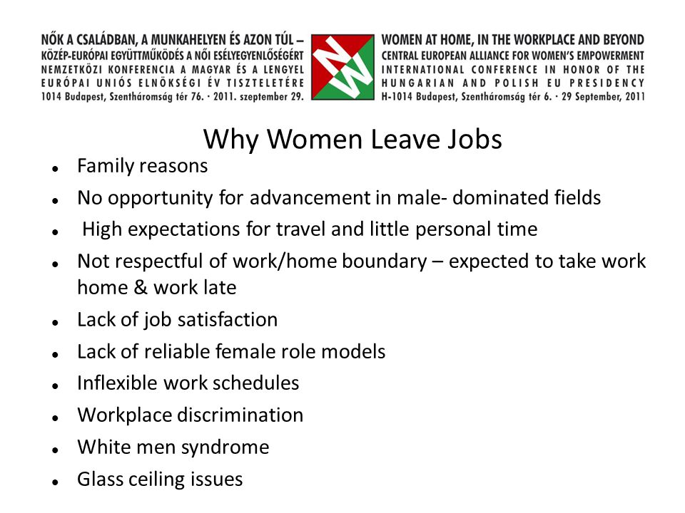 Why Women Leave Jobs Family reasons No opportunity for advancement in male- dominated fields High expectations for travel and little personal time Not respectful of work/home boundary – expected to take work home & work late Lack of job satisfaction Lack of reliable female role models Inflexible work schedules Workplace discrimination White men syndrome Glass ceiling issues