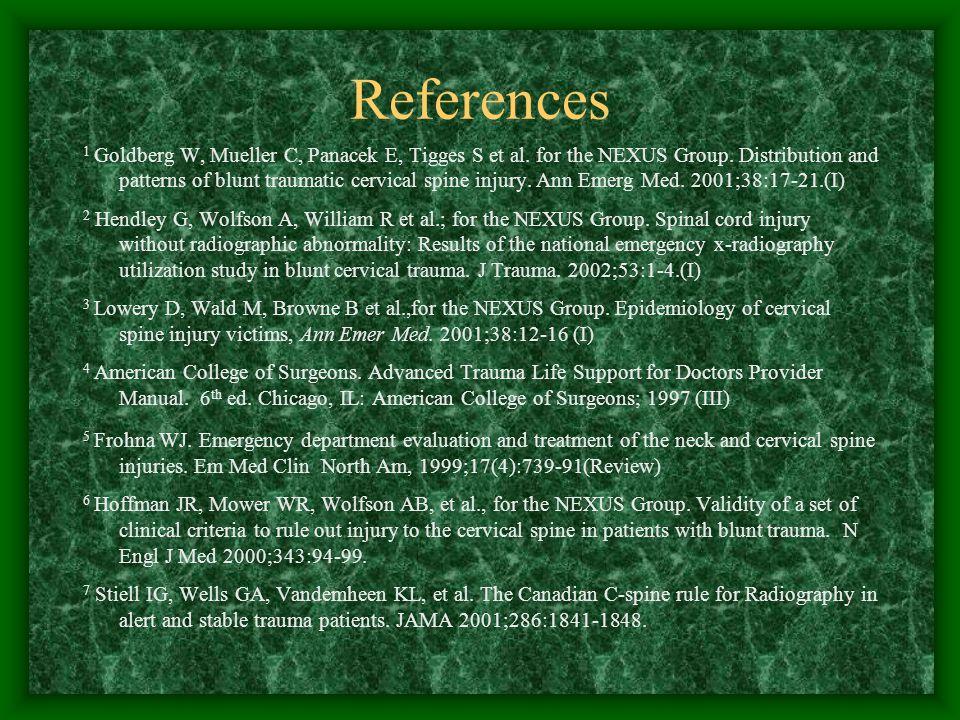 References 1 Goldberg W, Mueller C, Panacek E, Tigges S et al.