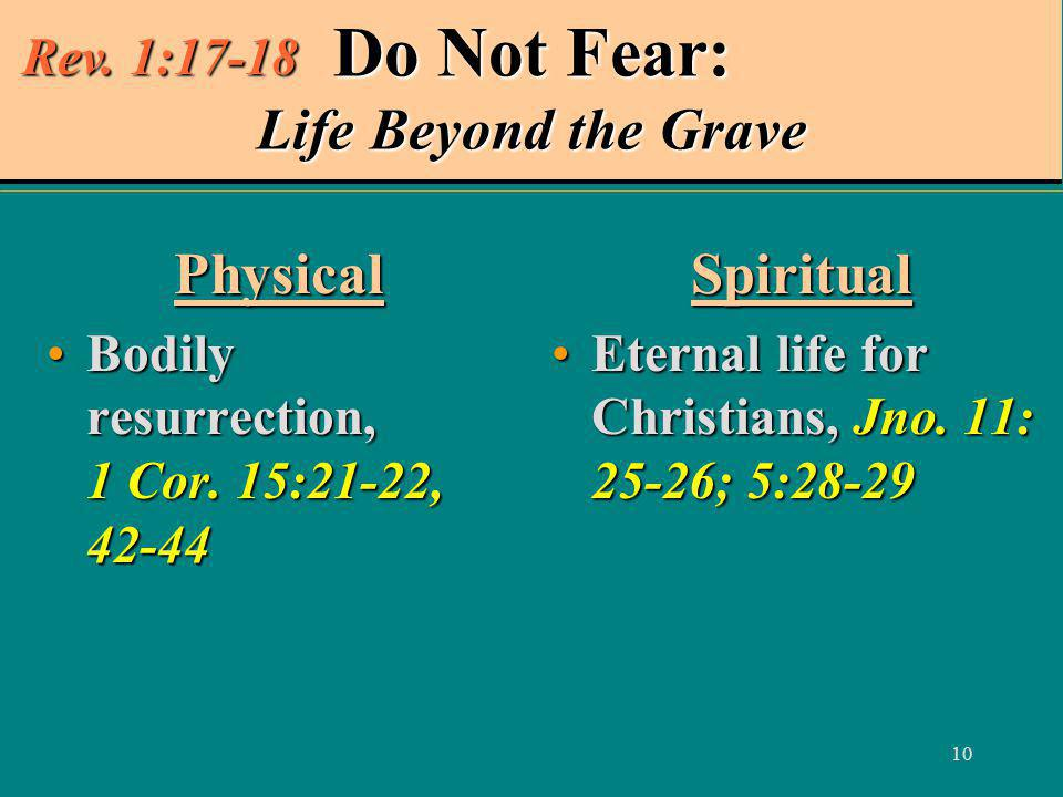 10 Do Not Fear: Life Beyond the Grave Physical Bodily resurrection, 1 Cor.