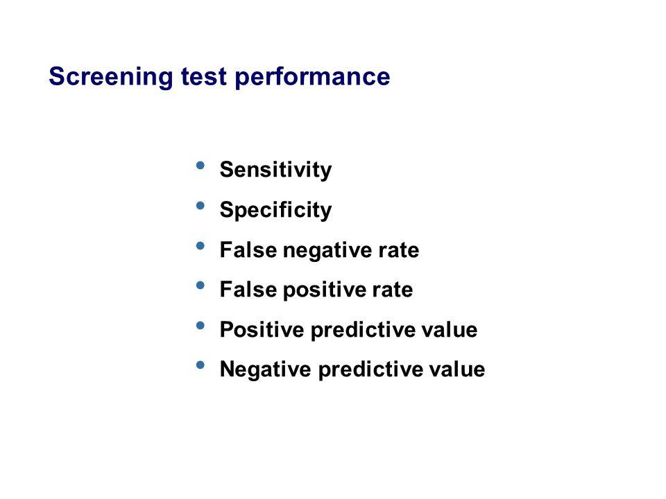 Screening test performance Sensitivity Specificity False negative rate False positive rate Positive predictive value Negative predictive value