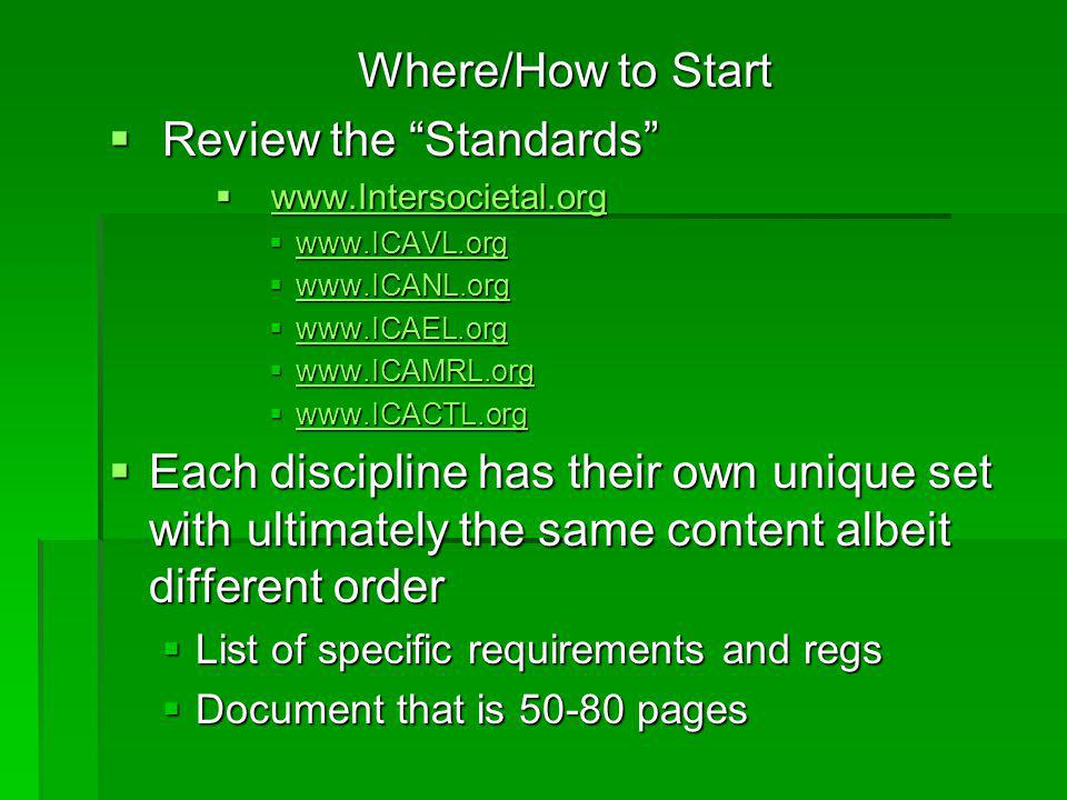 """Where/How to Start  Review the """"Standards""""  www.Intersocietal.org www.Intersocietal.org  www.ICAVL.org www.ICAVL.org  www.ICANL.org www.ICANL.org"""