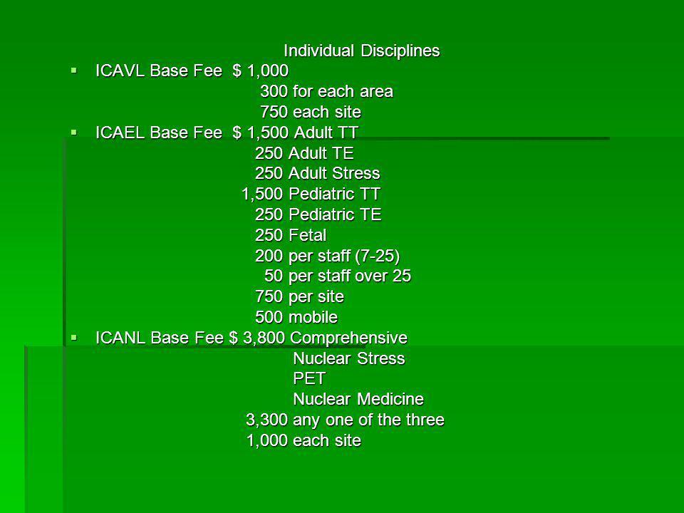 Individual Disciplines  ICAVL Base Fee $ 1,000 300 for each area 300 for each area 750 each site 750 each site  ICAEL Base Fee $ 1,500 Adult TT 250
