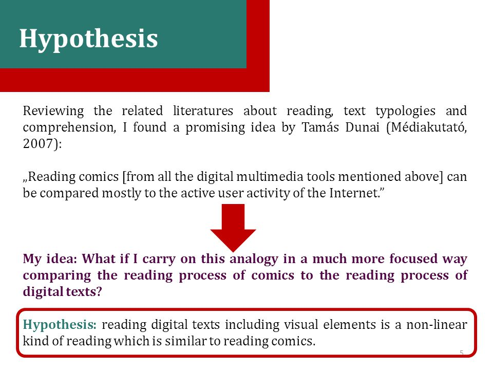 "5 Bevezetés, hipotézis Reviewing the related literatures about reading, text typologies and comprehension, I found a promising idea by Tamás Dunai (Médiakutató, 2007): ""Reading comics [from all the digital multimedia tools mentioned above] can be compared mostly to the active user activity of the Internet. My idea: What if I carry on this analogy in a much more focused way comparing the reading process of comics to the reading process of digital texts."