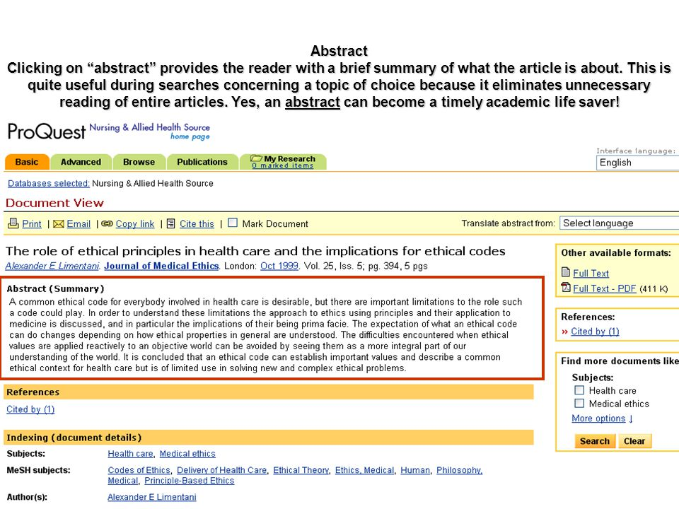 "Abstract Clicking on ""abstract"" provides the reader with a brief summary of what the article is about. This is quite useful during searches concerning"
