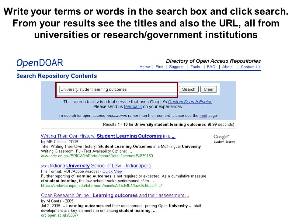 Write your terms or words in the search box and click search. From your results see the titles and also the URL, all from universities or research/gov