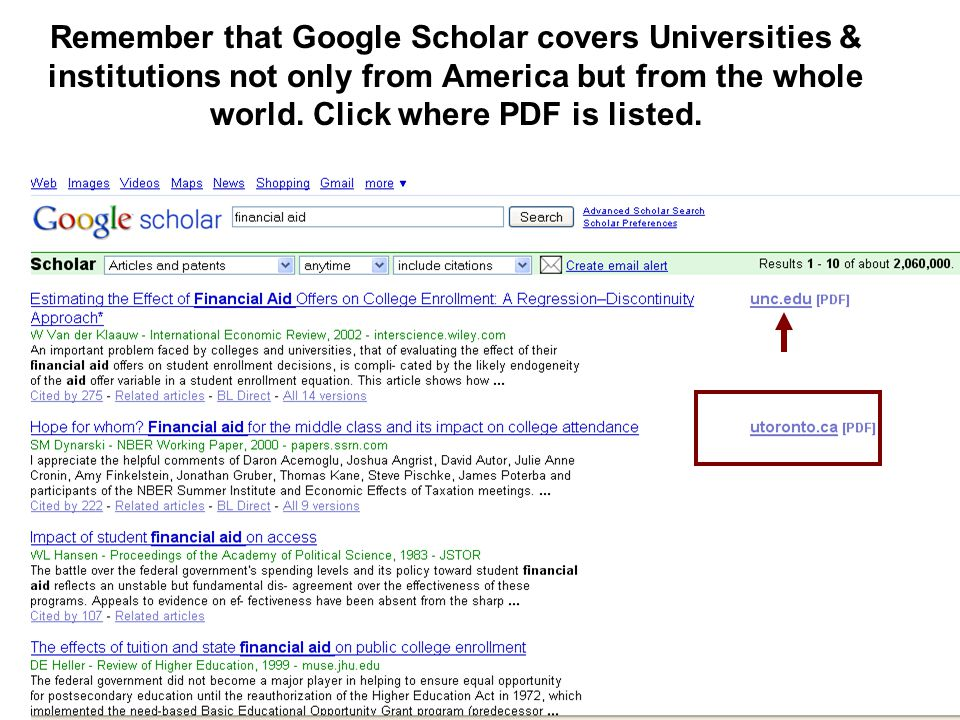 Remember that Google Scholar covers Universities & institutions not only from America but from the whole world.