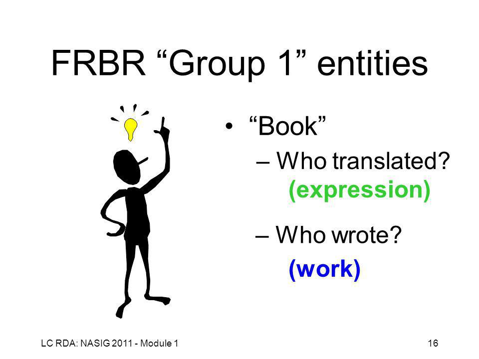 LC RDA: NASIG 2011 - Module 116 FRBR Group 1 entities Book – Who translated.