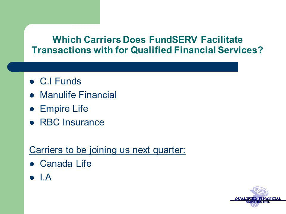 Which Carriers Does FundSERV Facilitate Transactions with for Qualified Financial Services? C.I Funds Manulife Financial Empire Life RBC Insurance Car