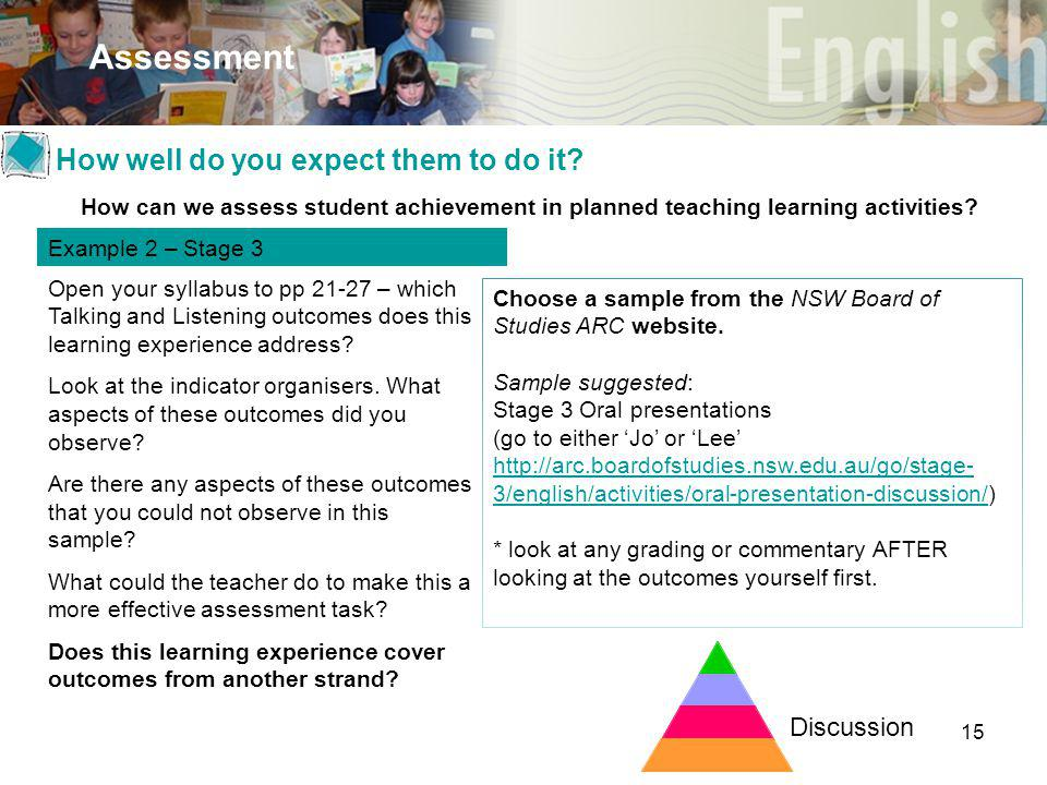 15 Assessment Discussion How can we assess student achievement in planned teaching learning activities? Example 2 – Stage 3 Open your syllabus to pp 2